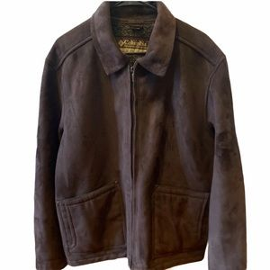 COLUMBIA Men's Brown Faux Suede Bomber Jacket